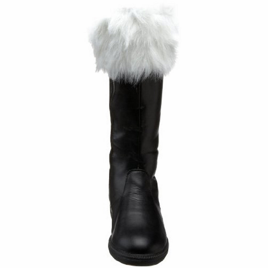 Black PU White Faux Fur Mens Santa Mid Calf Boots Halloween Cosplay Costume