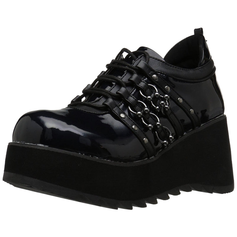 Black Hologram Leather Womens Wedge Platform Goth Punk Alternative Lace Up Shoes