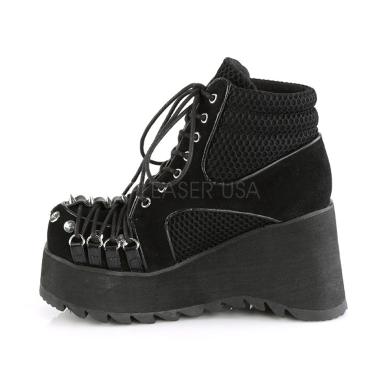 Black Vegan Suede Fishnet Womens Wedge Platform Gothic Punk Lace Up Ankle Boots