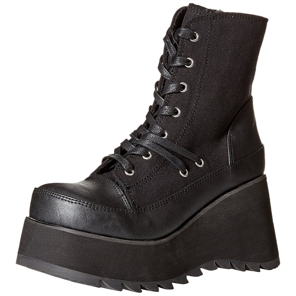 Black Lace Up Ankle High Boots Goth Punk Biker Combat Alternative Wedge Platform