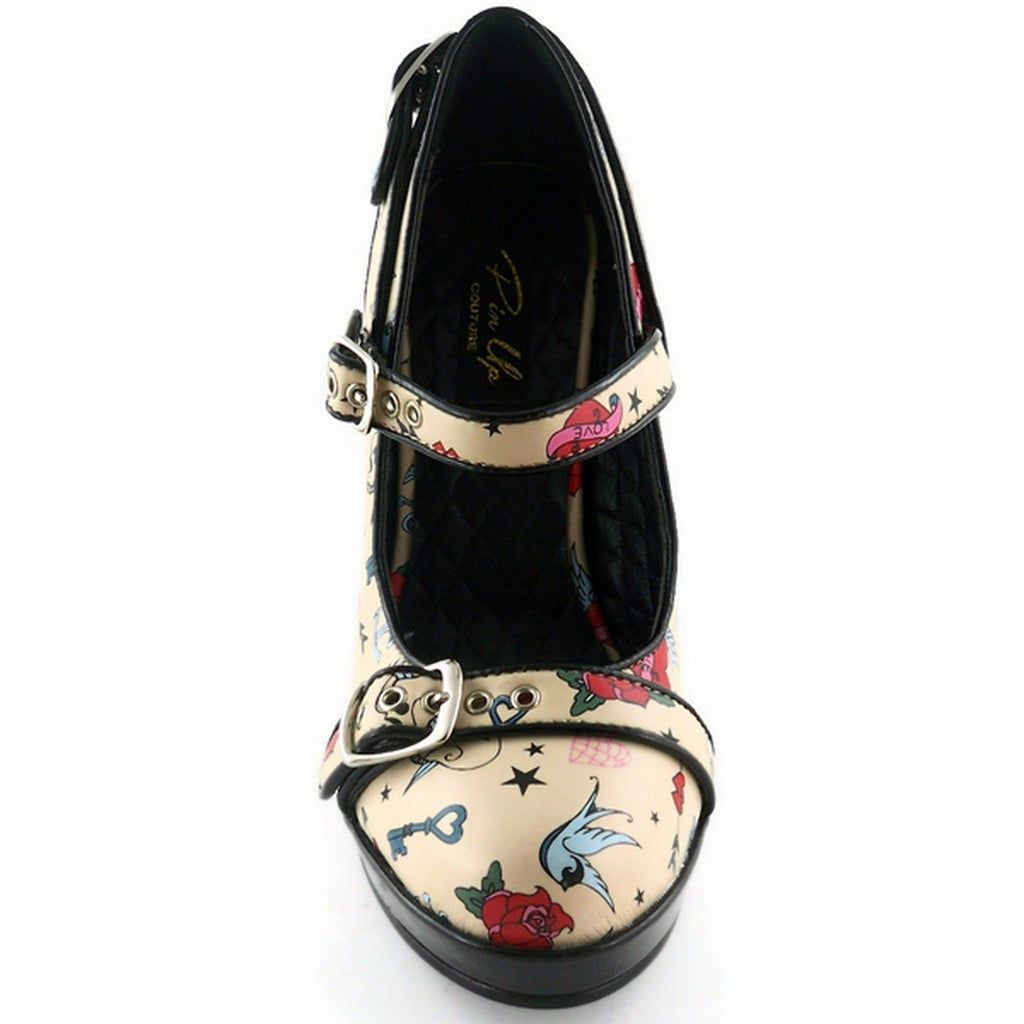 Cream Tattoo Print Retro Rockabilly Vintage Mary Jane Pumps Shoes Buckle Straps