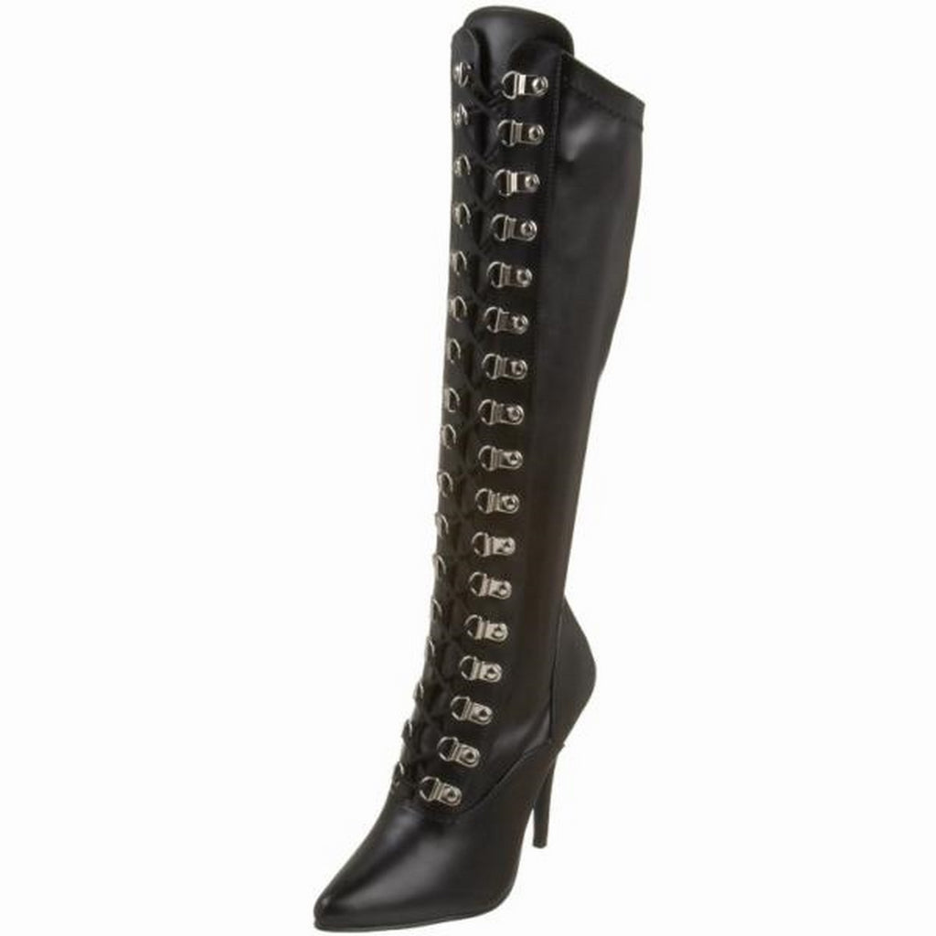 Black Matte Stretch Knee High Boots Lace Up Sexy Exotic Dance Clubwear High Heel