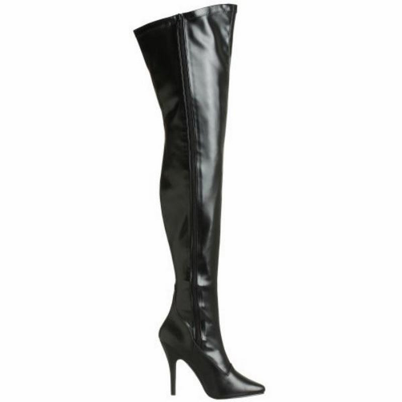 Black Matte Stretch Thigh High Boots Sexy Exotic Dancing Clubwear High Heels