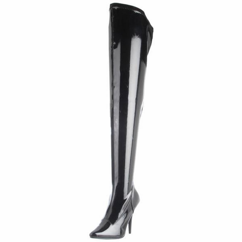 Black Patent Stretch Thigh High Boots Sexy Exotic Dancing Clubwear High Heels