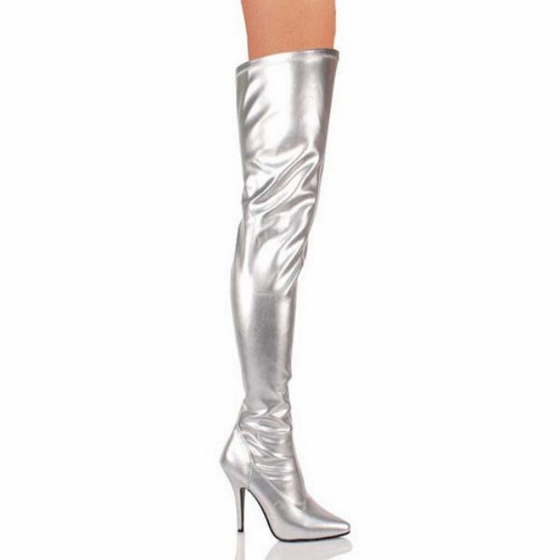 Silver Matte Stretch Thigh High Boots Sexy Exotic Dancing Clubwear High Heels