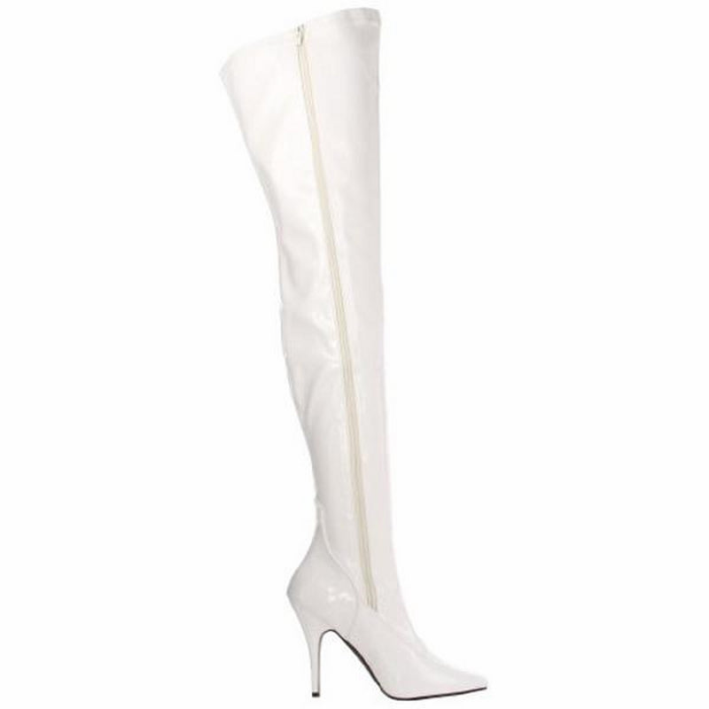 White Patent Stretch Thigh High Boots Sexy Exotic Dancing Clubwear High Heels