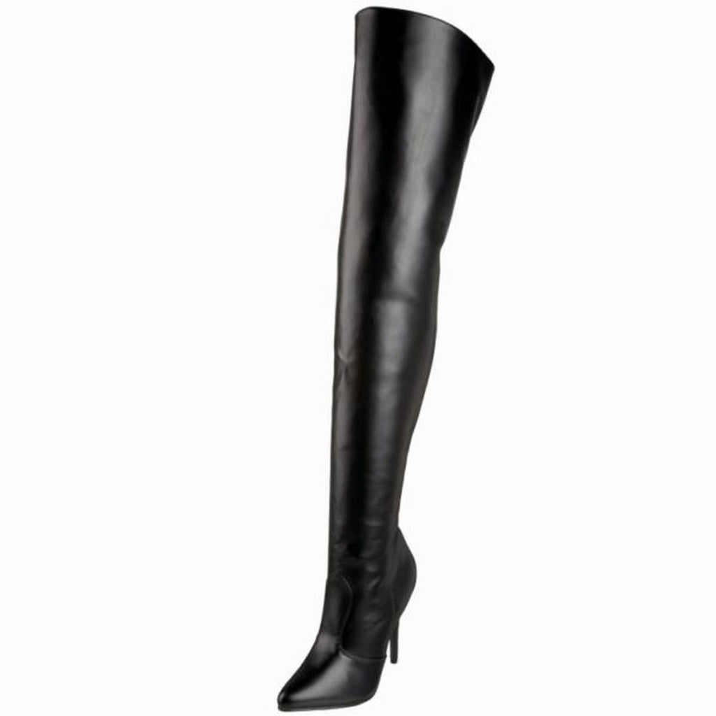 Black Matte Stretch Thigh High Boots Sexy Exotic Pole Dancer Clubwear High Heels