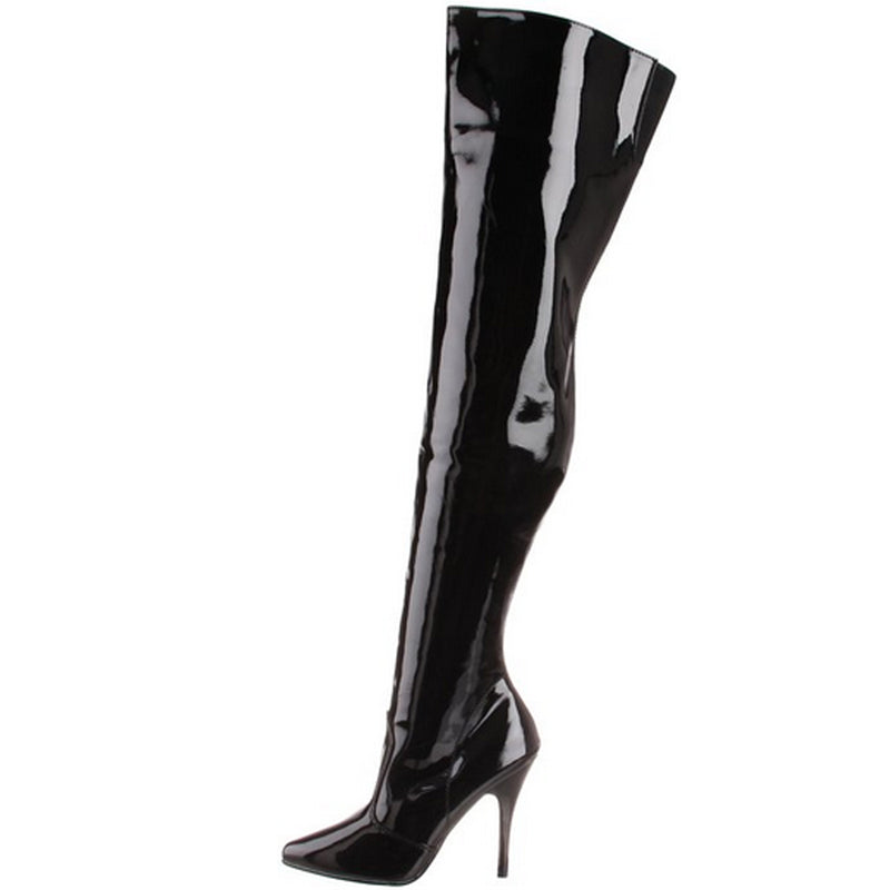 Black Patent Stretch Thigh High Boots Sexy Exotic Pole Dance Clubwear High Heels