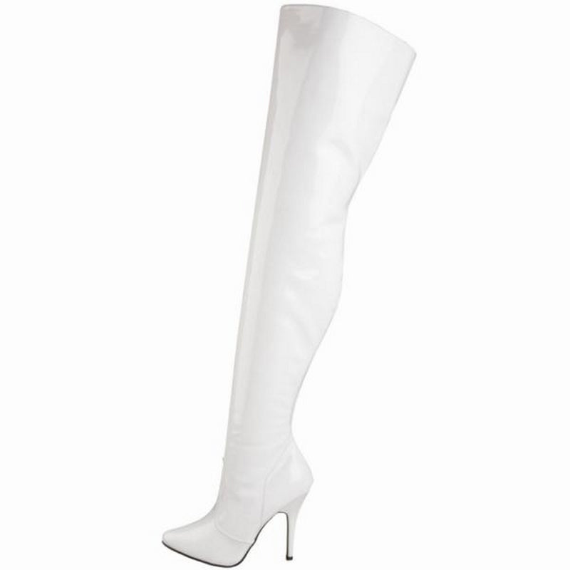 White Patent Stretch Thigh High Boots Sexy Exotic Pole Dance Clubwear High Heels