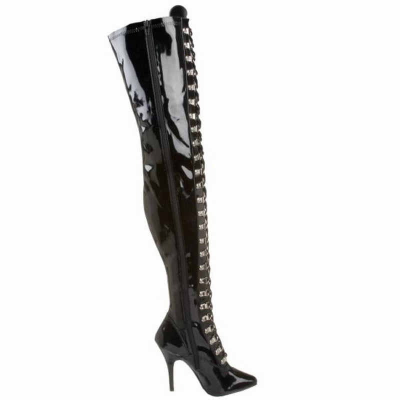Black Patent Stretch Thigh High Boots Lace Up Sexy Exotic Clubwear High Heels