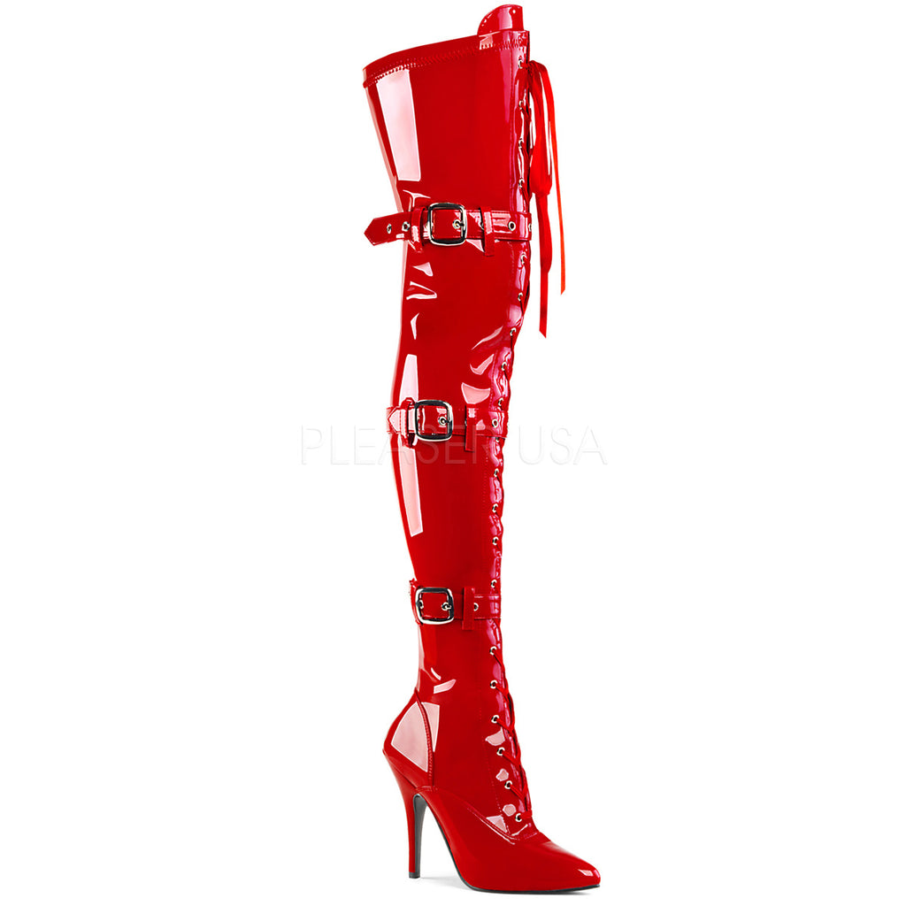 Red Patent Stretch Thigh High Boots Buckle Lace Up Heel Ribbon Sexy Exotic
