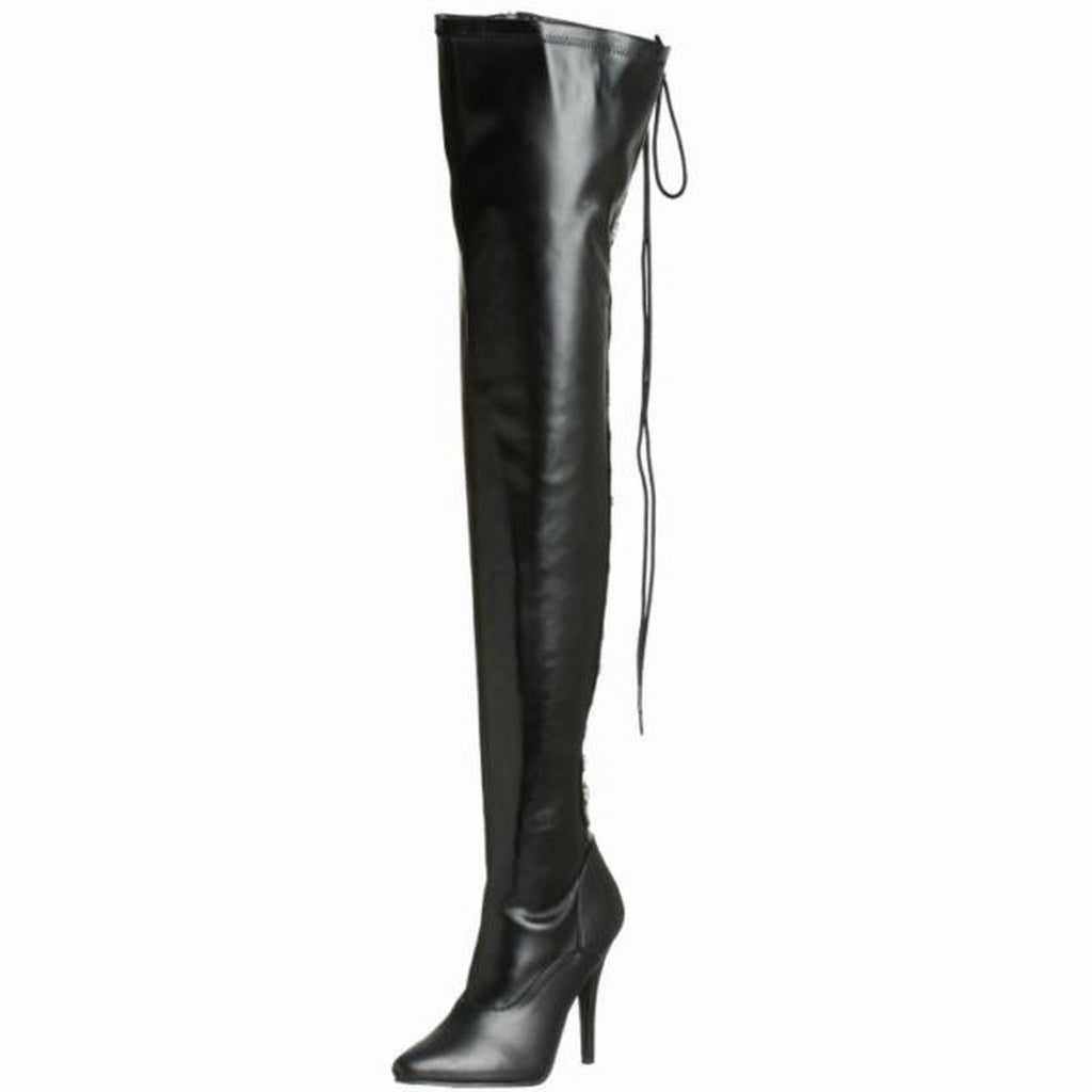 Black Matte Stretch Thigh High Boots Open Back Lace Up Sexy Exotic Single Sole