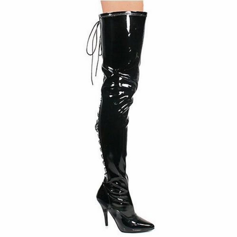 Black Patent Stretch Thigh High Boots Open Back Lace Up Sexy Exotic Single Sole