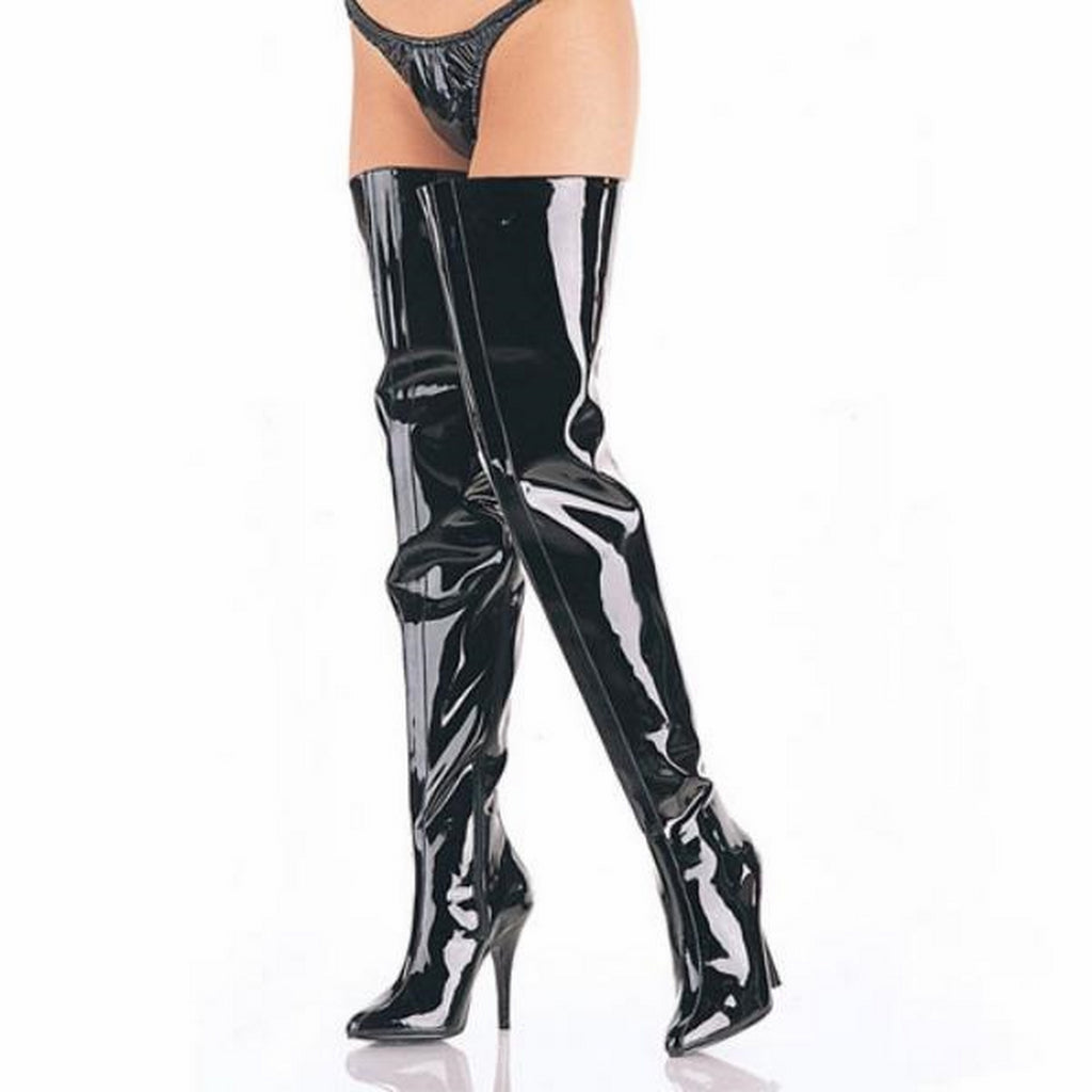 Black Patent Wide Thigh High Crotch Boots Chaps Stiletto High Heel Sexy Exotic