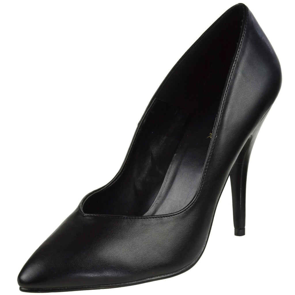 Black Faux Leather High Heel Stiletto Pump Classic Womens Pointed Toe Pleaser