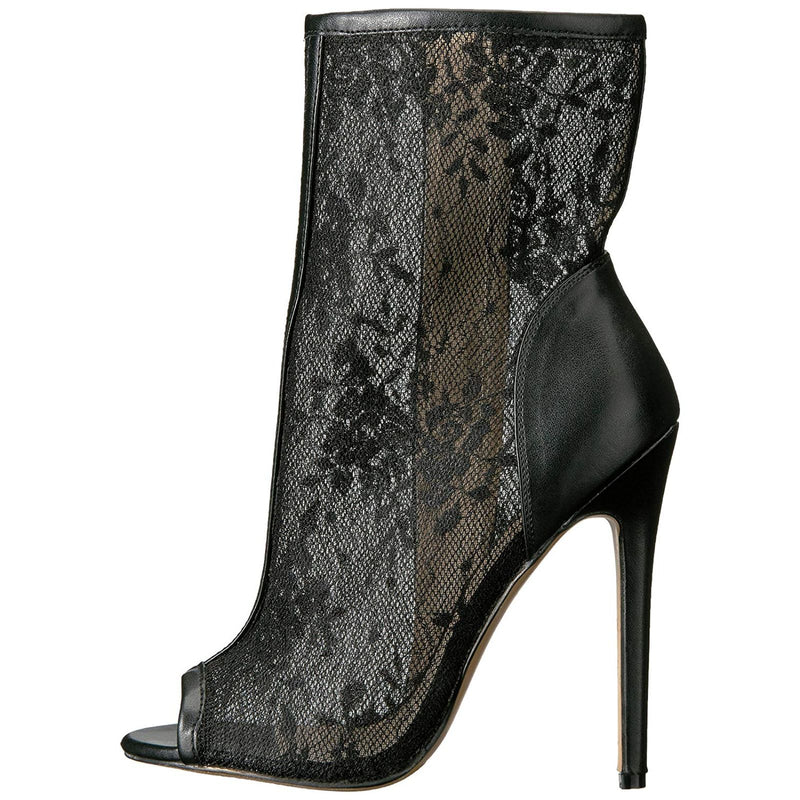 Black Matte Lace Womens Open Toe Ankle Bootie Side Zip Fabulicious SEXY-1008