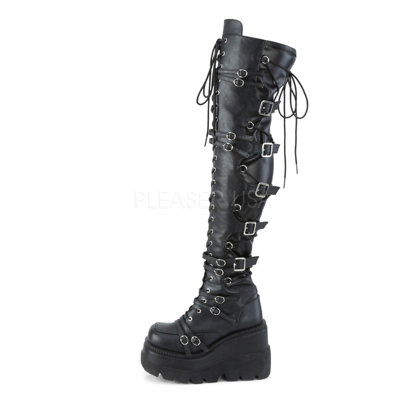 Black Vegan Leather Stretch Womens Wedge Platform Lace Up Over The Knee Boots