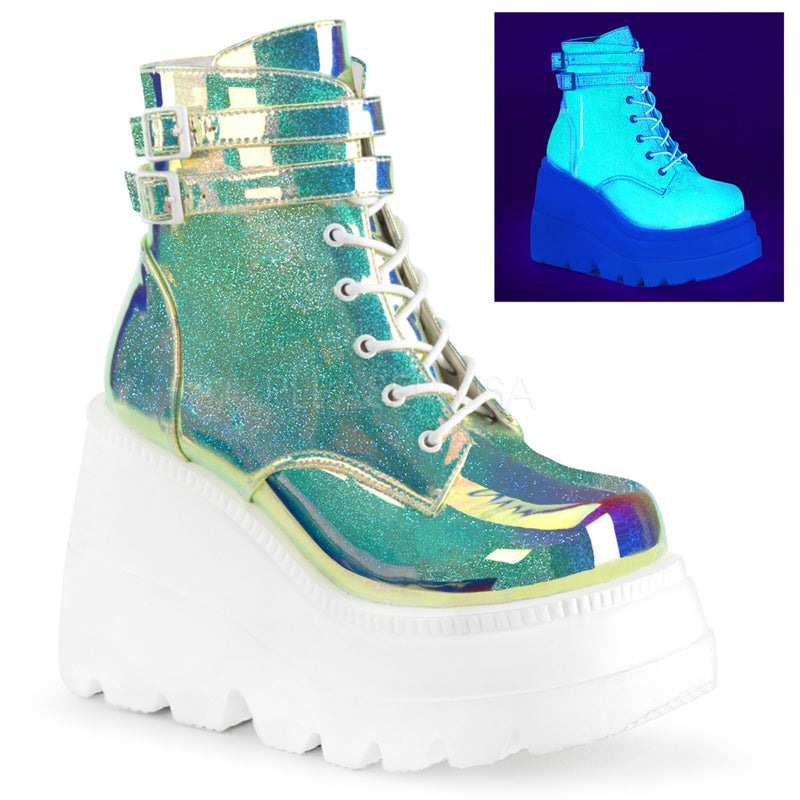 UV Green Shifting Glitter Aternative Womens Goth Punk Ankle Boots Wedge Platform
