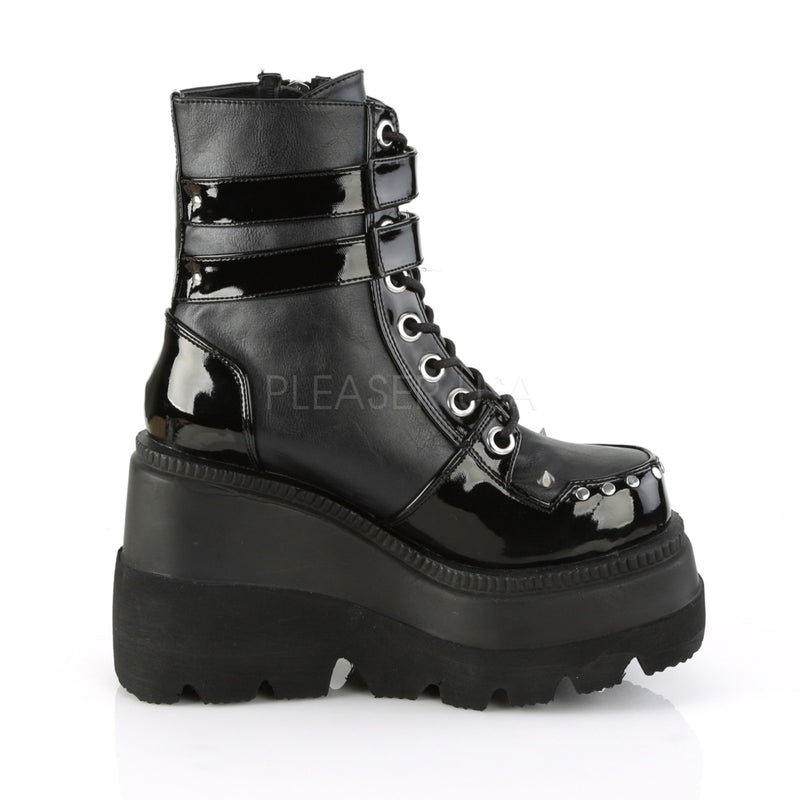 Black Vegan Leather Lace Up Ankle Boots Zip Combat Goth Punk Alternative Patform