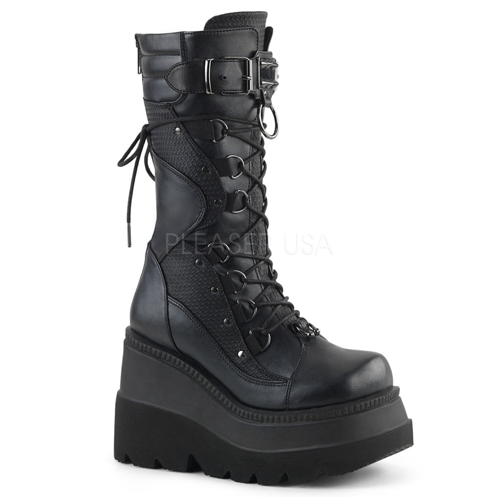 Black Vegan Leather Womens Wedge Platform Lace-Up Calf Boots Demonia SHAKER-70