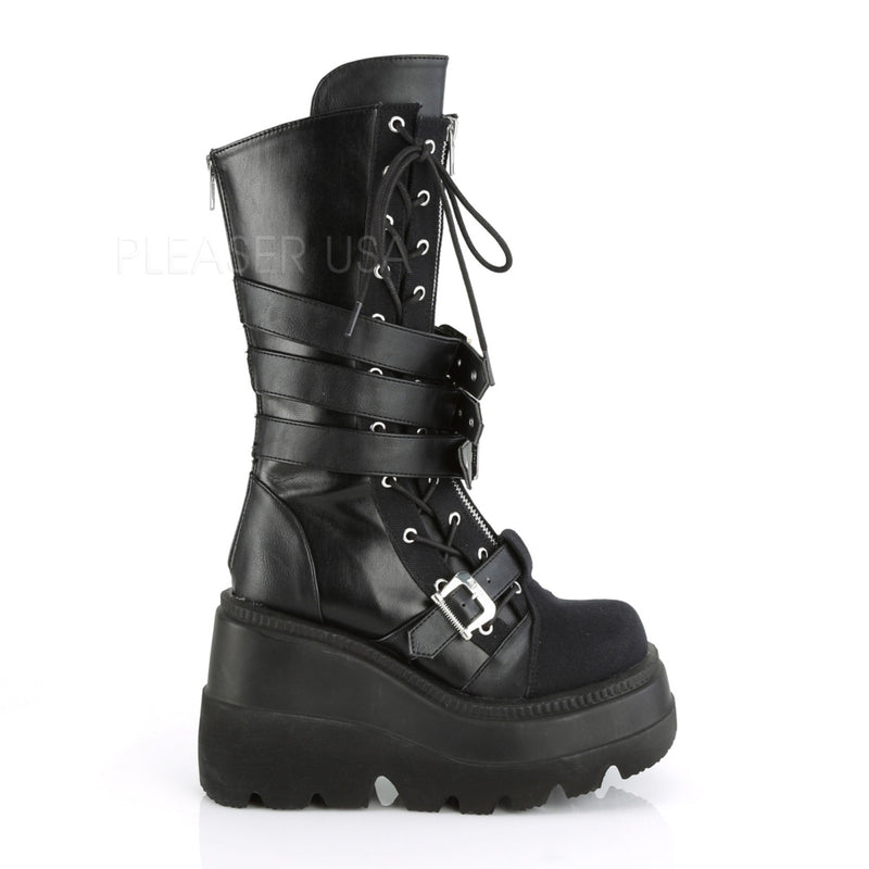 Black Vegan Leather Canvas Goth Punk Alternative Platform Lace Up Mid Calf Boots