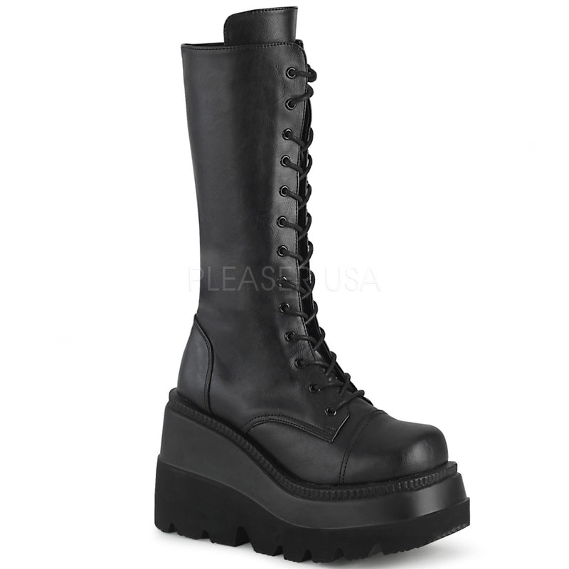 Black Vegan Leather Goth Punk Alternative Wedge Platform Lace Up Mid Calf Boots