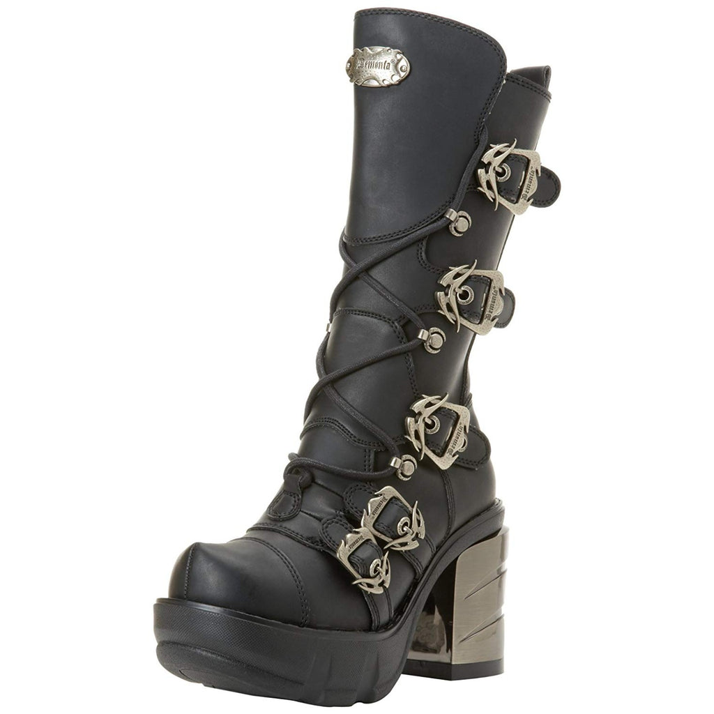 Black Calf High Boots Combat Biker Cyber Goth Punk Alternative Chrome High Heel