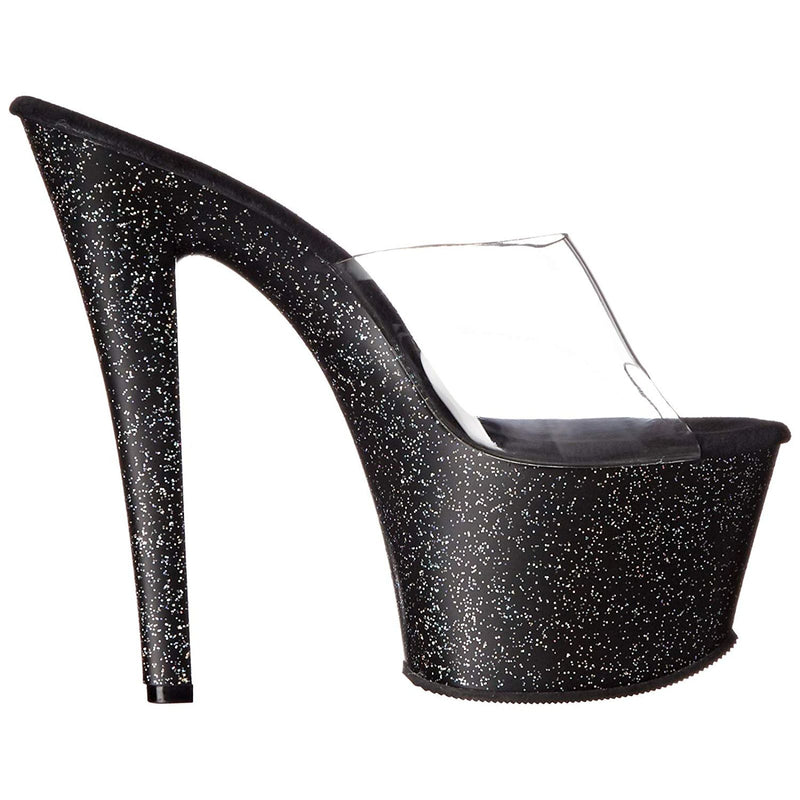 Clear Black Glitter Stripper Slip On Sandal Platform Sexy Exotic High Heel Shoes