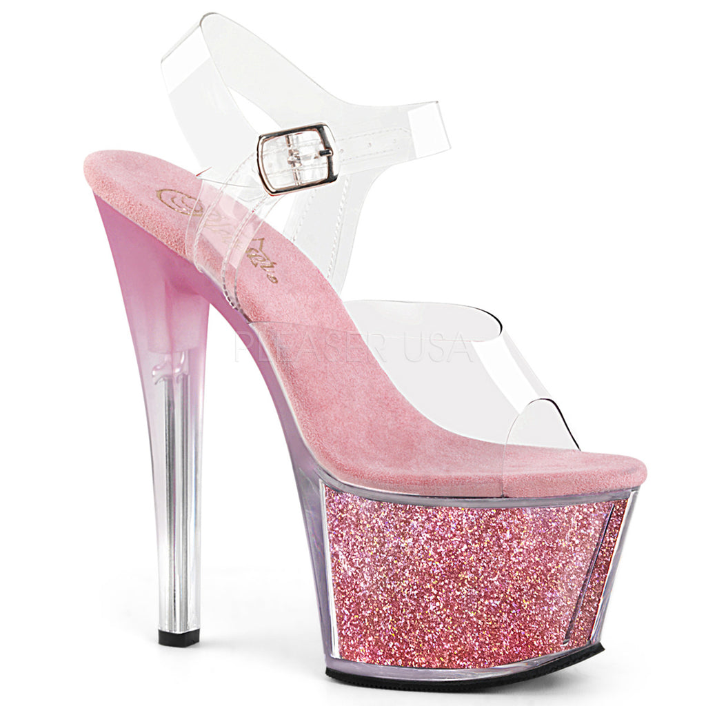 Baby Pink Glitter Heel Platform Womens Sandal Stripper Shoes Pleaser SKY-308G-T