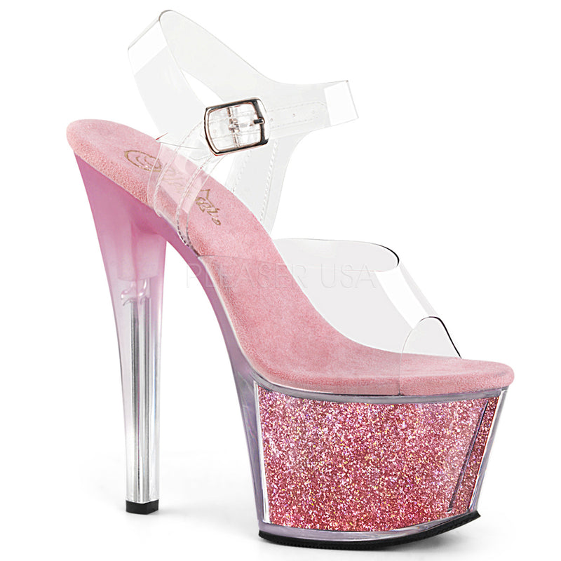 Baby Pink Glitter Platform Ankle Strap Sandals Sexy Stripper High Heels Shoes