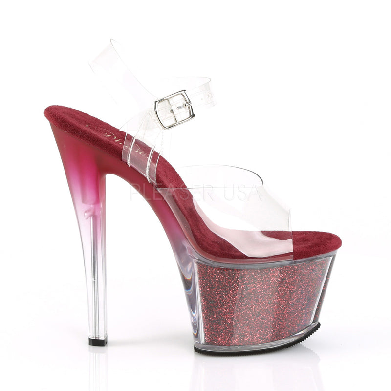 Berry Glitter Platform Ankle Strap Sandals Exotic Sexy Stripper High Heels Shoes