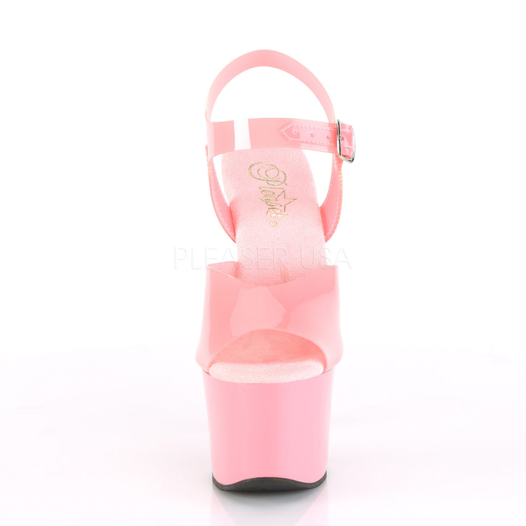 Baby Pink Jelly-Like TPU Open Toe Platform Ankle Strap Sandal Pleaser SKY-308N