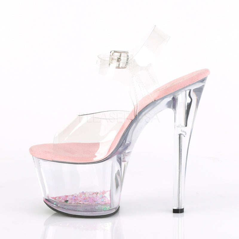Baby Pink Glitter Exotic Dancing Ankle Strap Stiletto Heel Platform Sandal Shoes