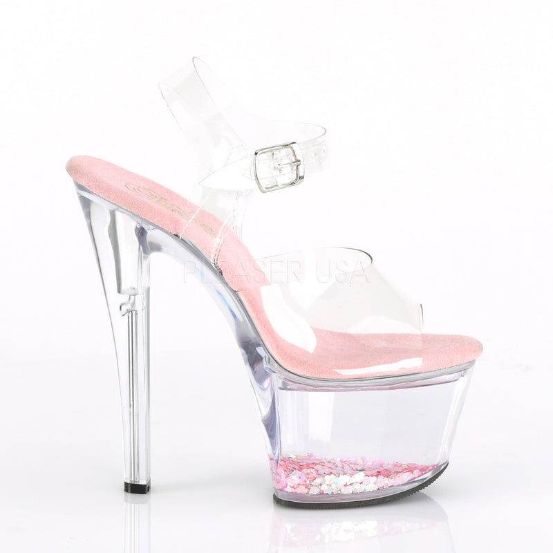 Baby Pink Glitter Ankle Strap Sandals Platform Sexy Stripper High Heels Shoes