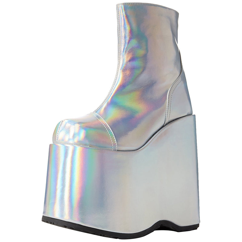 Silver Hologram Vegan Leather Womens Costume Goth Punk Platform Ankle Boots Zip
