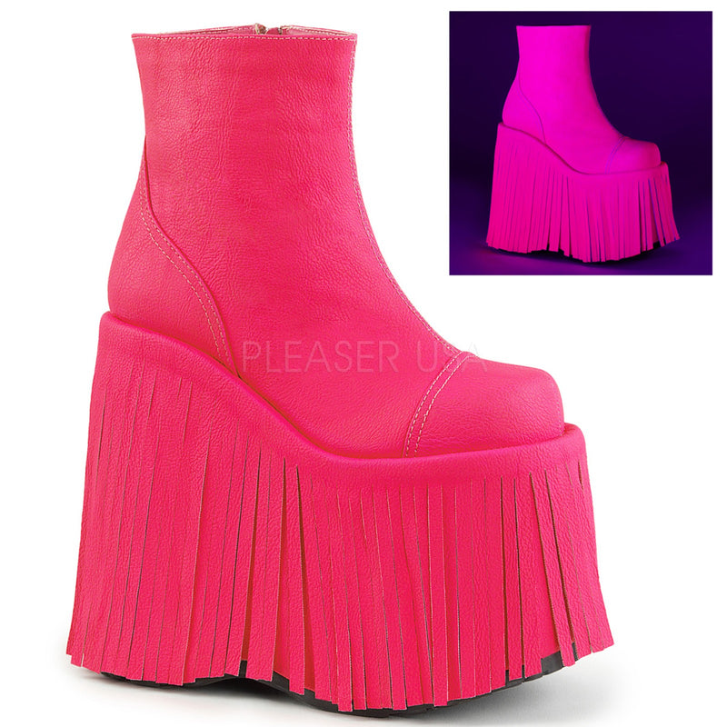 Neon Hot Pink Vegan Leather Womens Fringed Encasing Platform Ankle Boots DEMONIA