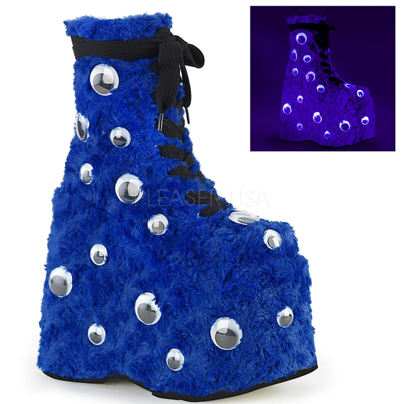 Blue Fur Womens Wedge Monster Platform Lace Up Ankle Boots Scattered Googly Eyes