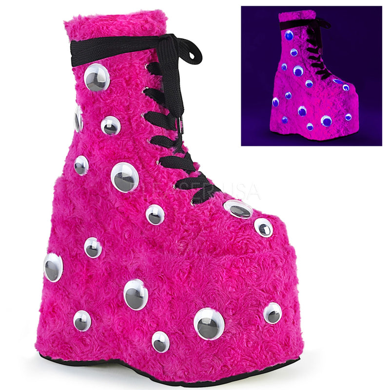 Hot Pink Fur Wedge Monster Platform Lace Up Ankle Boots Scattered Googly Eyes