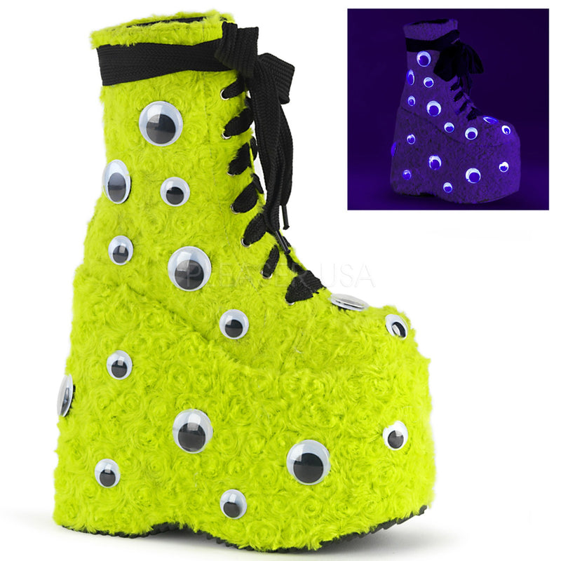 Lime Green Faux Fur Monster Platform Lace Up Ankle Boot Scattered Googly Eyes
