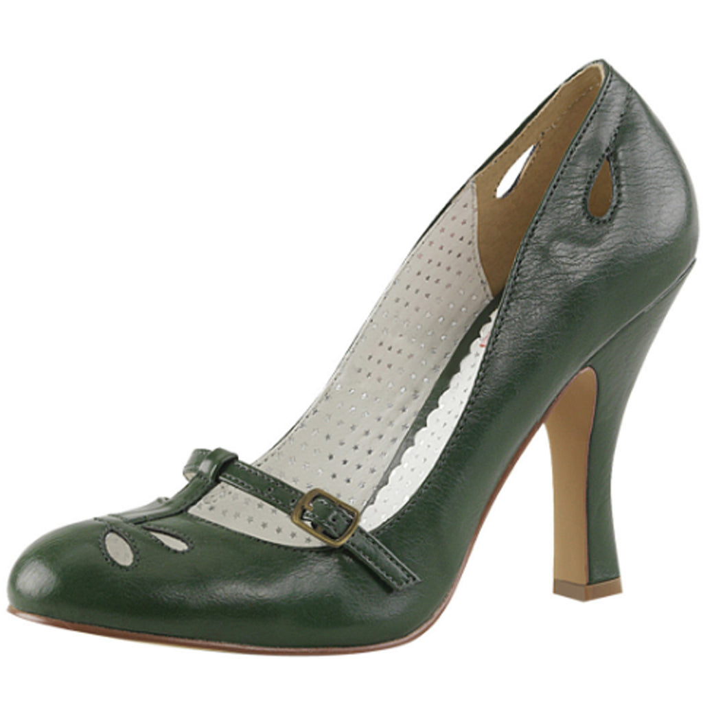 Forest Green Matte Womens Mary Jane Pumps Cut Out Single Sole High Heel Shoes