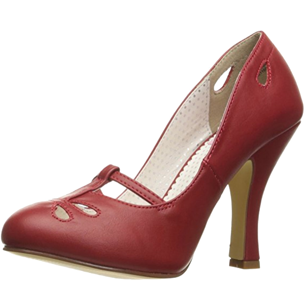 Red Matte Womens Mary Jane Pumps Cut Out Design Single Sole High Heel Shoes