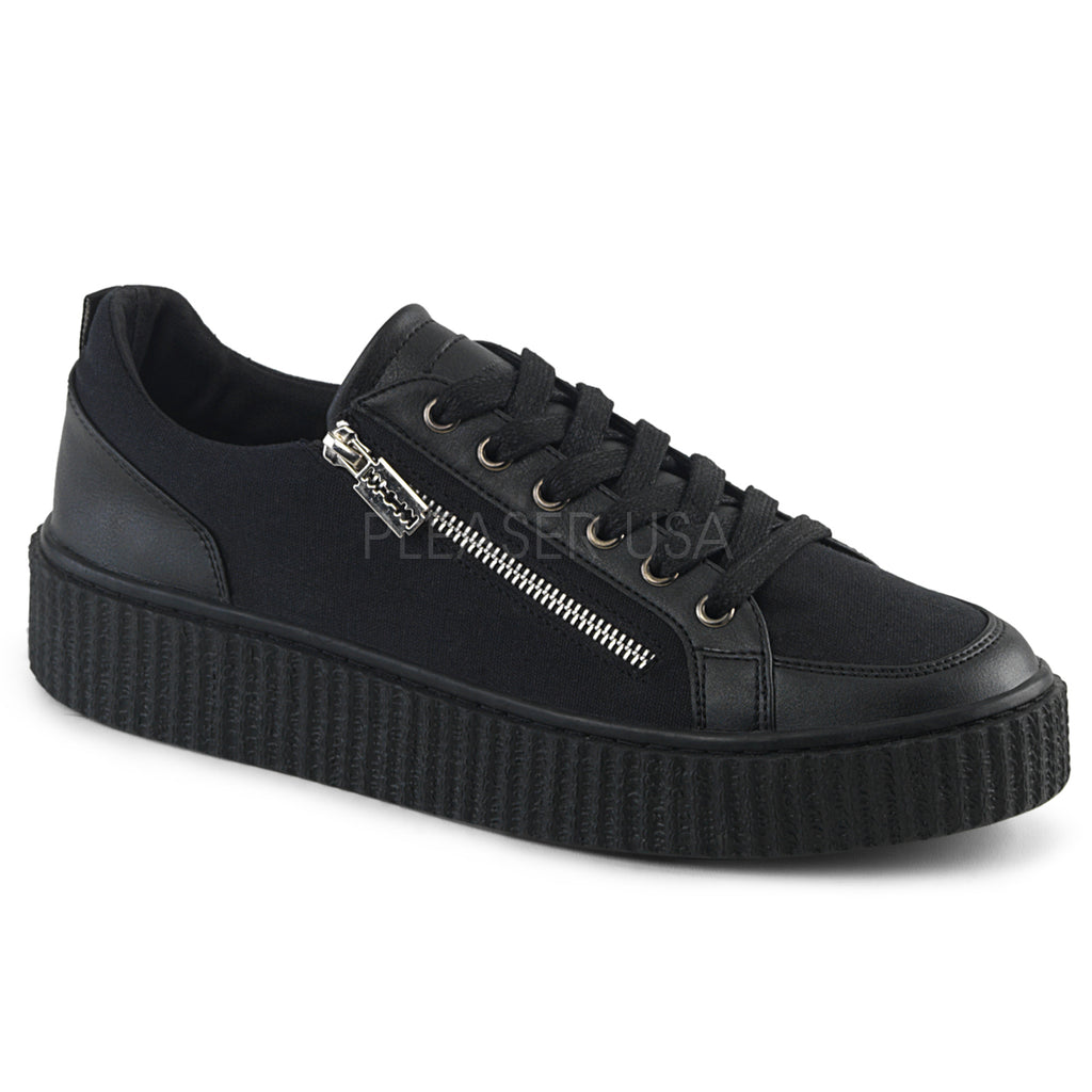 Black Canvas Mens Low Top Round Toe Lace Up Front Platform Sneaker Creeper Shoes