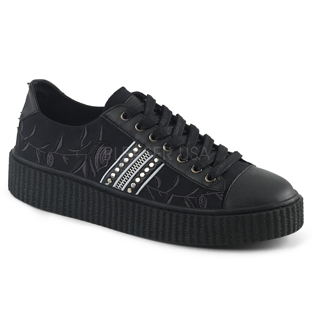 Black Canvas Rose Embroidery Vamp Stud Zip Trim Up Creeper Sneaker Shoes DEMONIA