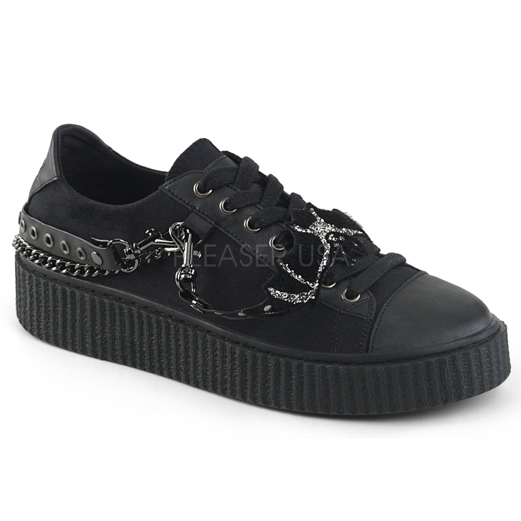 Black Canvas Three Interchangable Metal Chains Low Top Creeper Sneaker Shoes