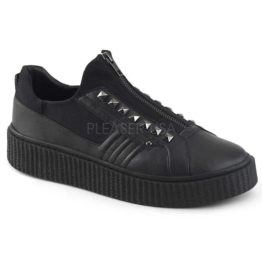 BLack Canvas Rubber Sole Zip Front Pyramid Studs Creeper Sneaker Shoes Platform