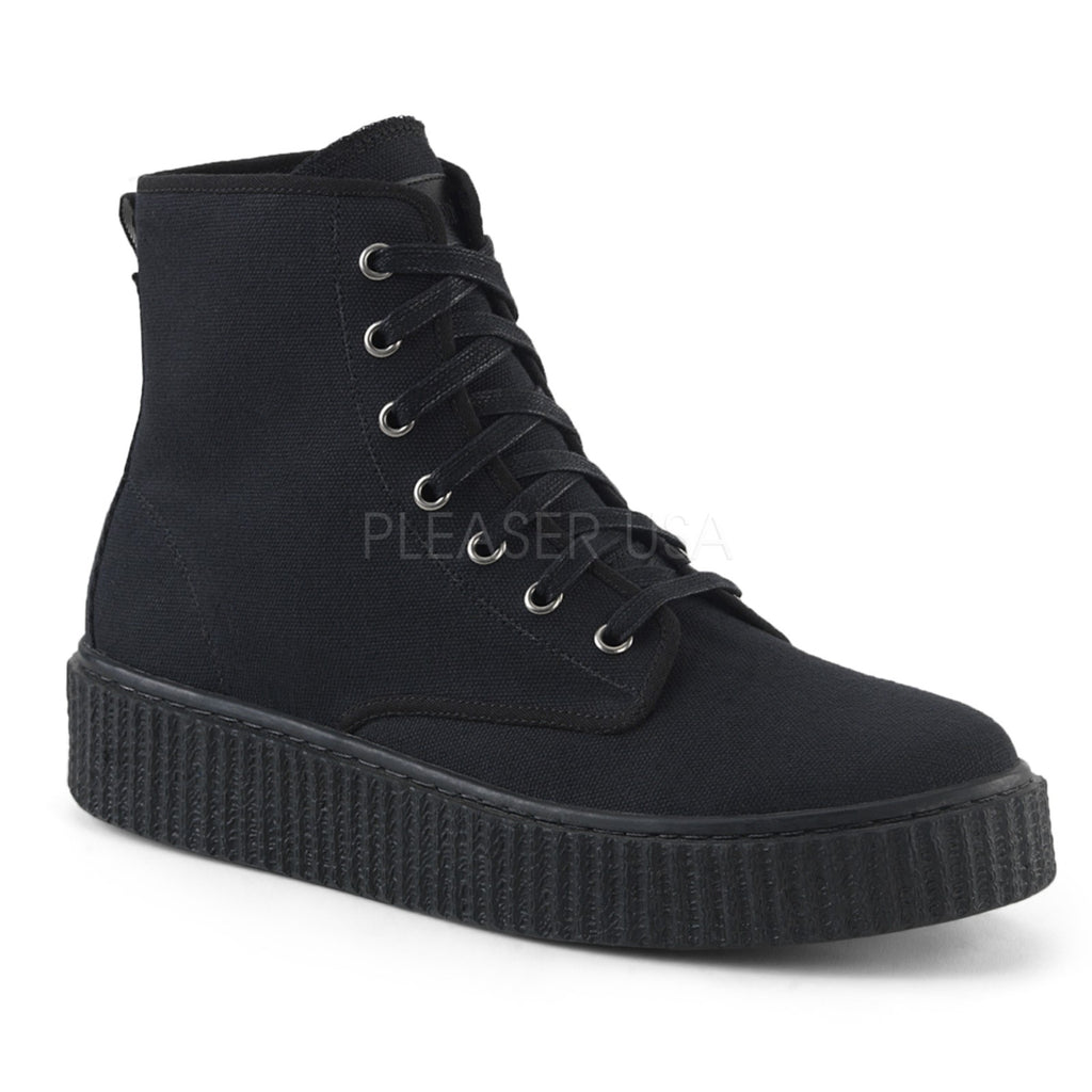 Black Canvas Mens Lace Up High Top Sneaker Creeper Shoes Platform Round Toe