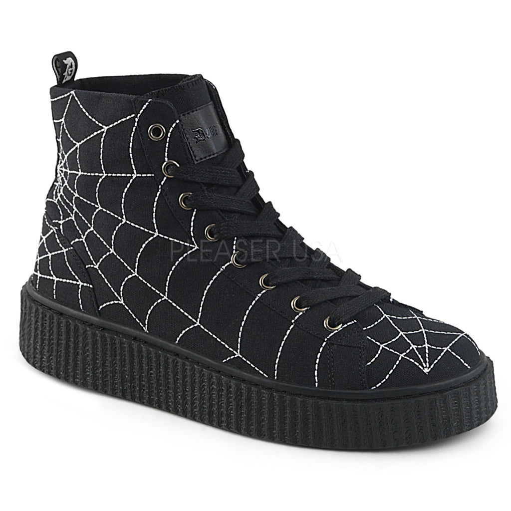 Black Canvas Mens Platform Spider Web High Top Sneaker Creeper Shoes Round Toe