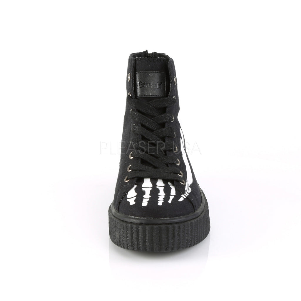 Black Canvas Mens Platform X-Ray Bones High Top Sneaker Creeper Shoes Round Toe