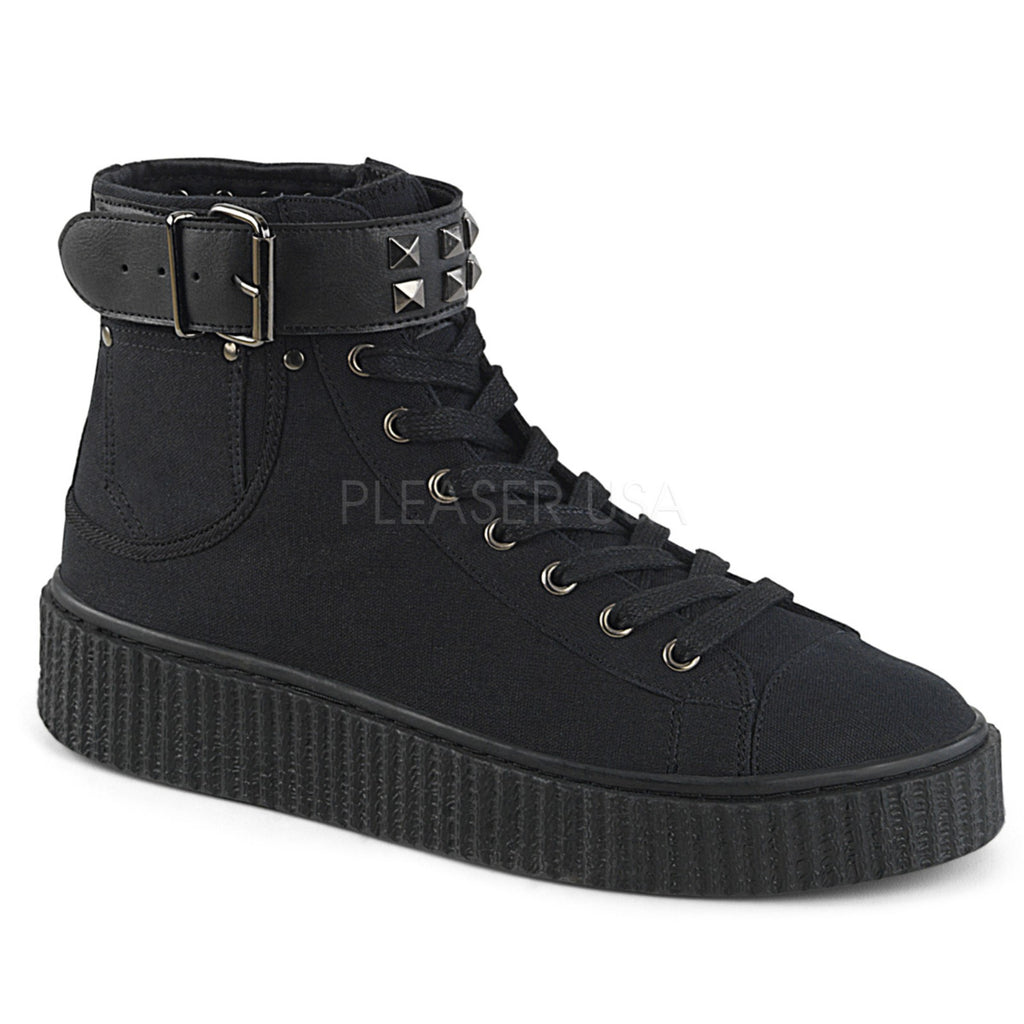 Black Canvas Studded Belt Strap Pocket High Top Lace Up Sneaker Creeper Shoes