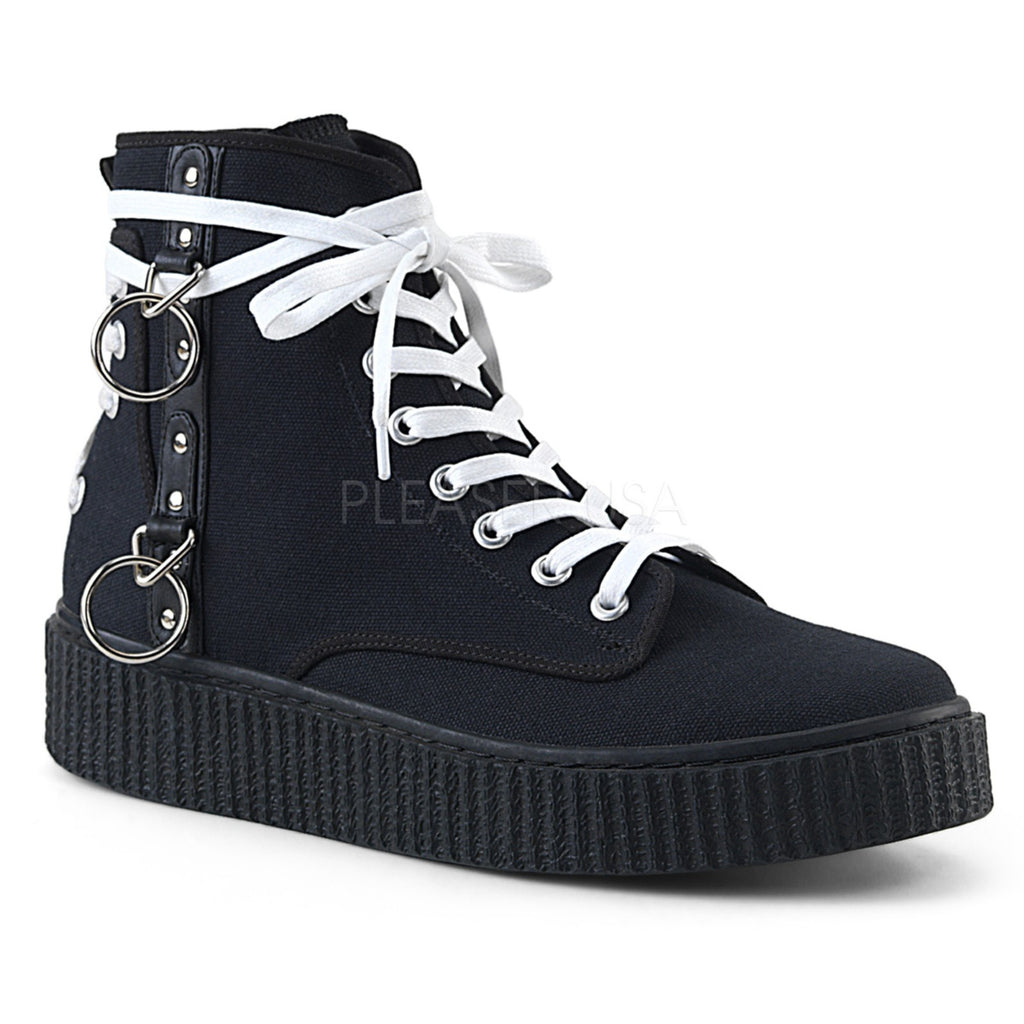 Black Canvas Mens Lace Up High Top Creeper Sneaker Shoes Platform Stud Round Toe